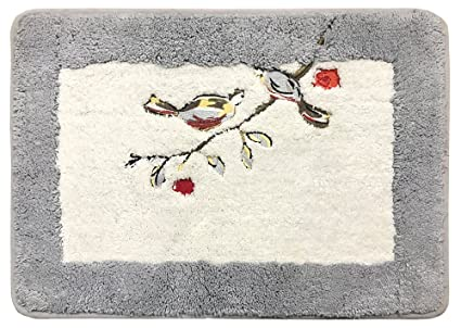 Kridhay Natura Life Indirugs Cotton Anti Slip Embroidered Bathmat , 40X60 cm , Grey