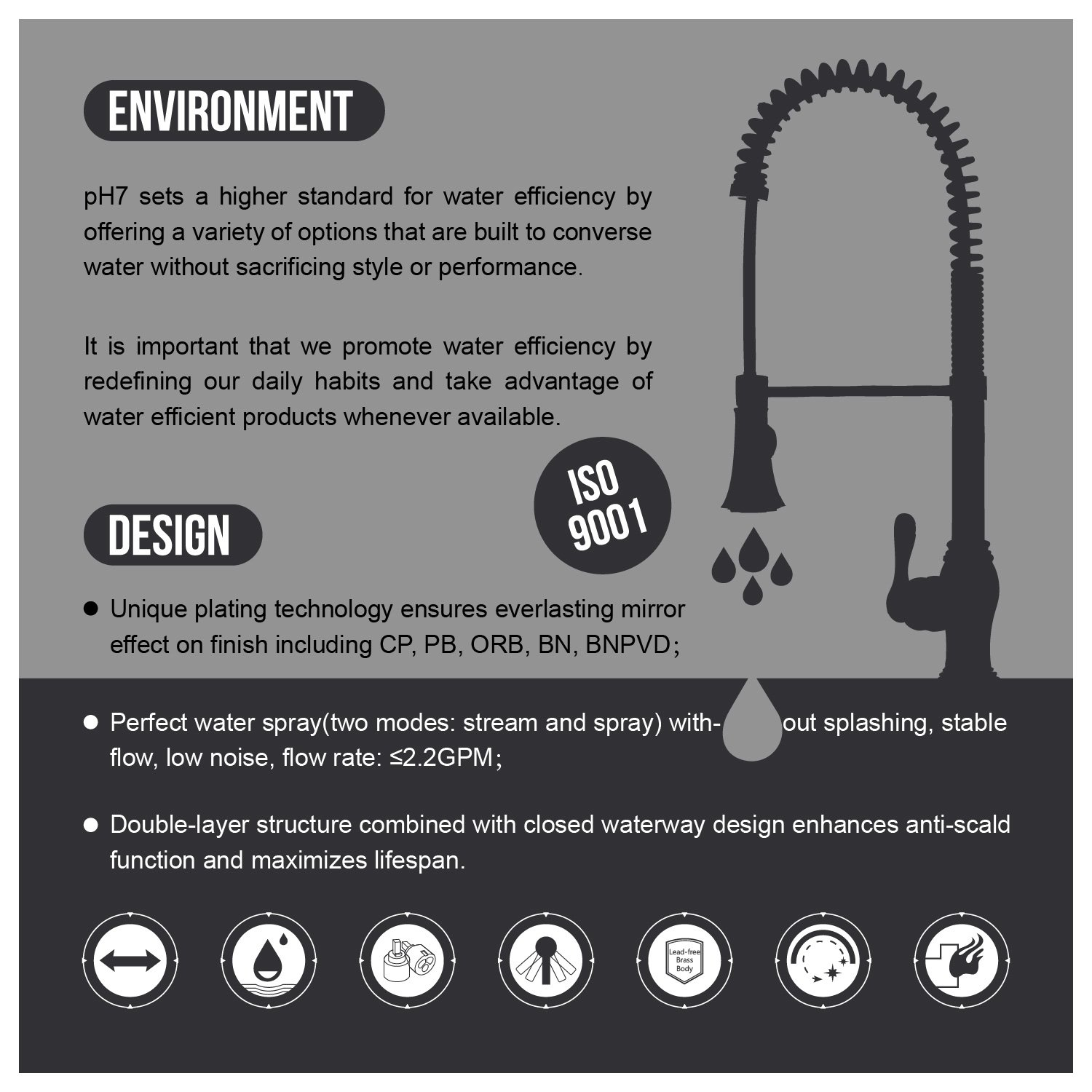 pH7® 82H20 1-hole Lead-free Brass Pull-out Kitchen Sink Faucet; 1 ...