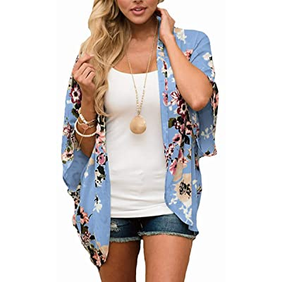 Hibluco Women's Fashion Floral Print Kimono Cardigan Long Tops Loose Cover Ups at Women's Clothing store