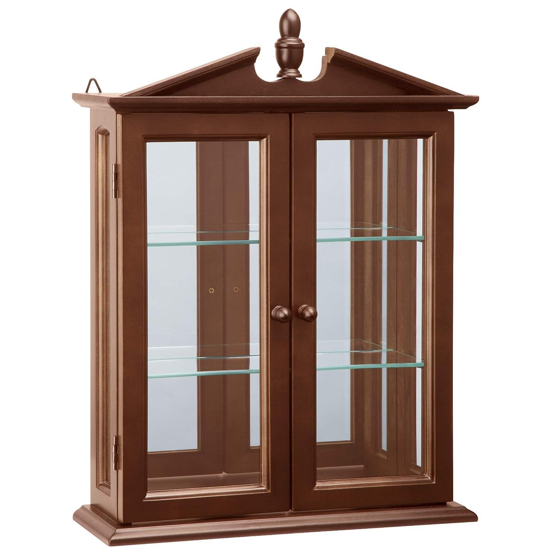 Design Toscano Amesbury Manor Glass Wall Mounted Storage Curio Cabinet, 22 Inch, Hardwood, Mahogany Finish