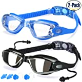 Swim Goggles, Pack of 2, Swimming Glasses for Adult Men Women Youth Kids Child, with Anti-Fog, Waterproof, UV 400 Protection Lenses, Made by COOLOO