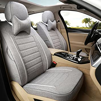 Amazon Com Autodecorun Automotive Exact Fit Seat Covers For Nissan Murano Seat Cover Flax Cloth Seats Cushion Interior Accessories Airbag Ready Rear Split Full Set Grey Automotive