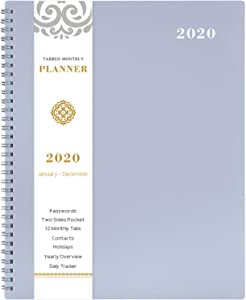 """2020 Monthly Calendar Planner - 12-Month Planner with Tabs & Pocket & Label, Contacts and Passwords, 8.5"""" x 11"""", Thick Paper, January - December 2020, Twin-Wire Binding - Gray by Artfan"""