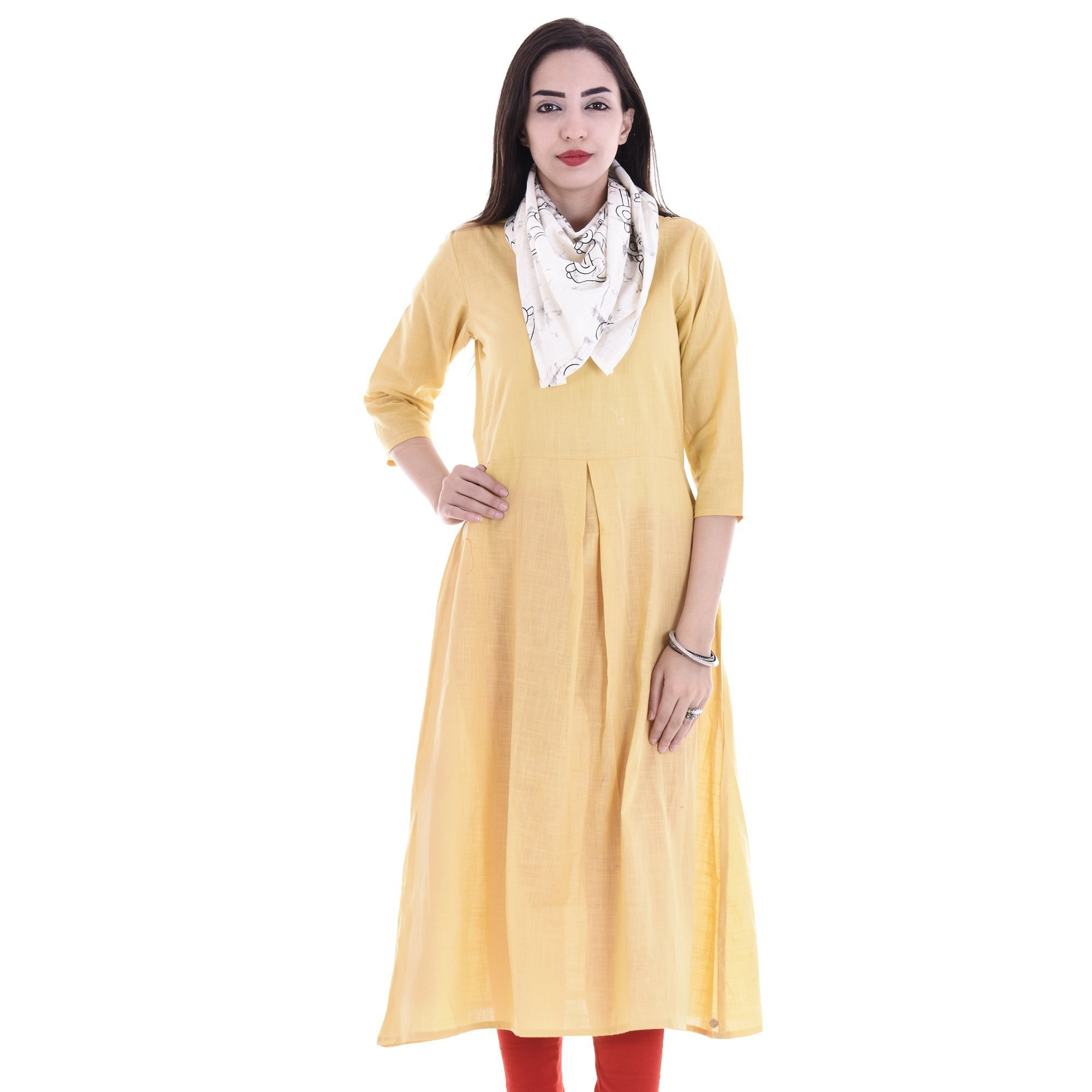 Chichi Indian Women Kurta Kurti 3/4 Sleeve X-Large Size Plain with Scarf Round Beige Top by CHI