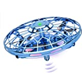 Hand Operated Drones for Kids or Adults, 2020 Upgraded Flying Toy Mini Drone Helicopter with 360° Rotating and LED Lights, Hand Controlled Flying Ball Toys for Boys or Girls (Blue)