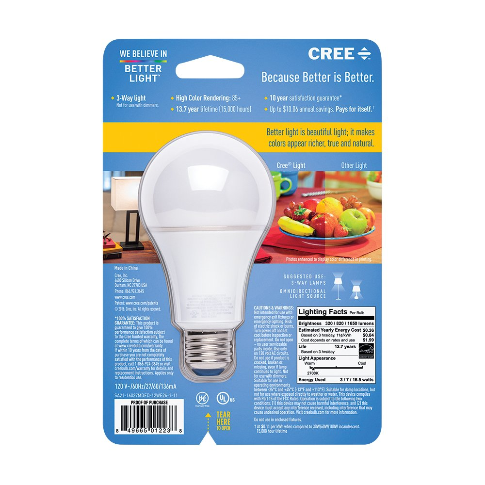 Cree Led 3 Way Soft White Light Bulb 7 165 Watt 1 Total Two Switch One