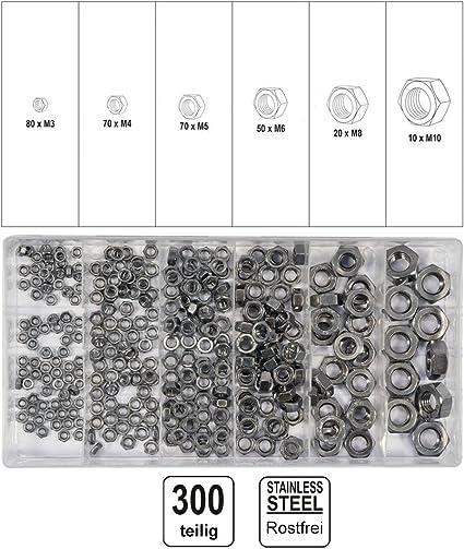 Sourcingmap/® 50 STK Gewinde M3 Durchmesser 304 Edelstahl metrische Sechskantmutter Sechskantschraube Rei/ßverschluss de