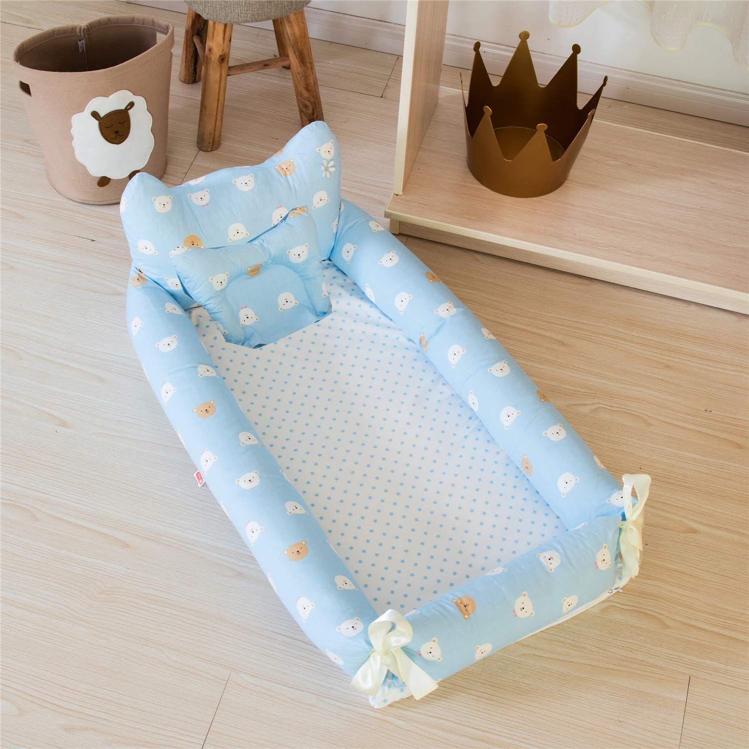 Ustide Newborn Infant Co-Sleeping Portable 100/% Breathable Cotton Baby Bassinet Set 2 Pieces