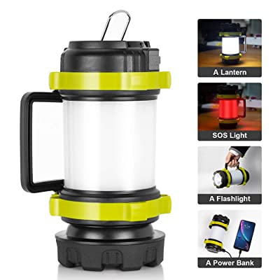 Lantern Flashlights with 4000mAh Power Bank, Red Strobe Light for Emergency, 800 Lumens, USB Rechargeable, 4 Lighting Modes, Kamspark LED Lantern for Camping, Fishing, Searching, Hiking (1 Pack)