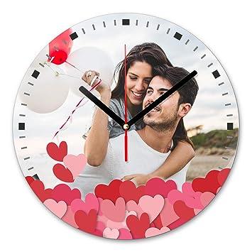 LaMAGLIERIA Reloj de Pared Personalizado con tu propria Foto - Reloj de Pared en Vidrio - Redondo Diámetro 20cm, Love: Amazon.es: Hogar