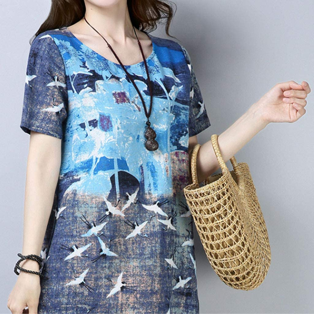 general3 Women Summer Vintage Beach Print Short Sleeve O-Neck Casual Loose Straight Midi Dress