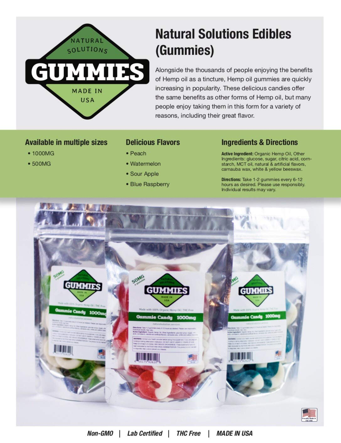 20ct Premium Hemp Gummies Watermelon Flavor- 50mg per Gummy Ring