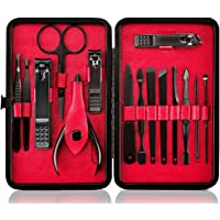 Professional Manicure Pedicure Set Nail Clipper -15 Piece Stainless Steel Heavy Duty Nail Care Aids -Fingernail Clippers…