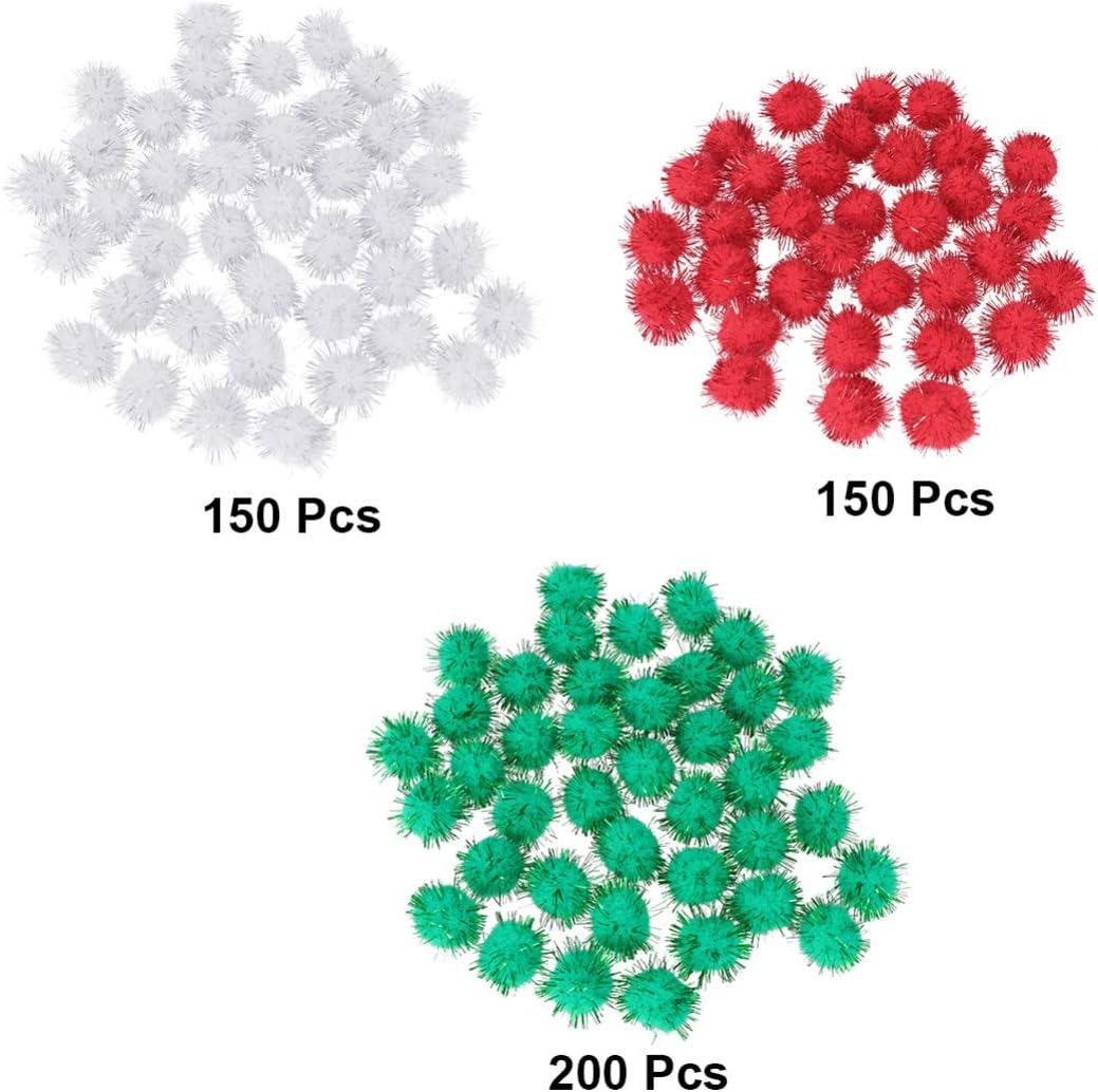 SUPVOX 500pcs Christmas Glitter Pom Poms Pom Balls Craft Pompoms for Pet Cat Toy Holiday Decor Red