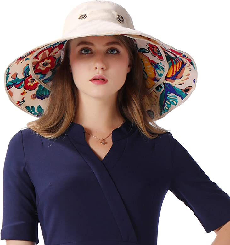 00d2de8b Frequently bought together. Choose items to buy together. iHomey Packable  Wide Brim Floppy Sun Hat Reversible UPF 50+ Beach Sun Bucket ...