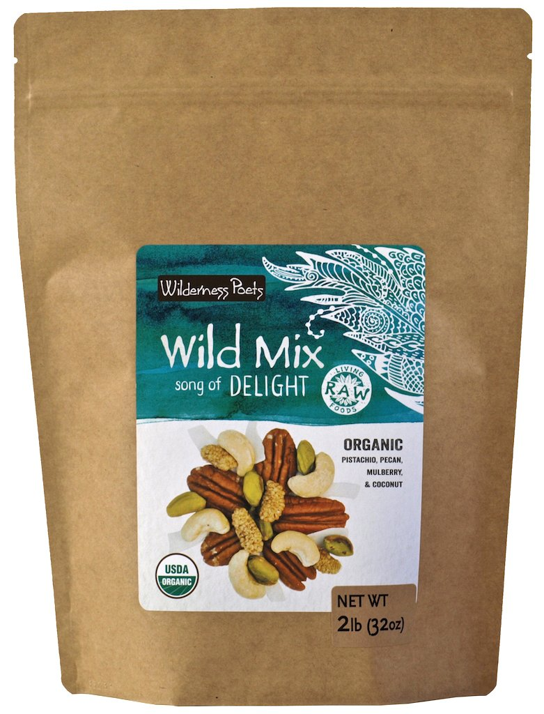 Wilderness Poets, Song of Delight Wild Mix - Organic Raw Trail Mix - Pecans, Cashews, Mulberries, Pistachios, Coconut Ribbons - 2 Pound (32 Ounce)
