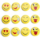 Emoji Magnets Smiley Magnets Refrigerator Magnets Fridge Magnets Smiley Face Manets Office Magnets Kitchen Magnets Mood Magnet Cute Funny Round Magnets Button Home Decoration Organizer (Smile Faces)