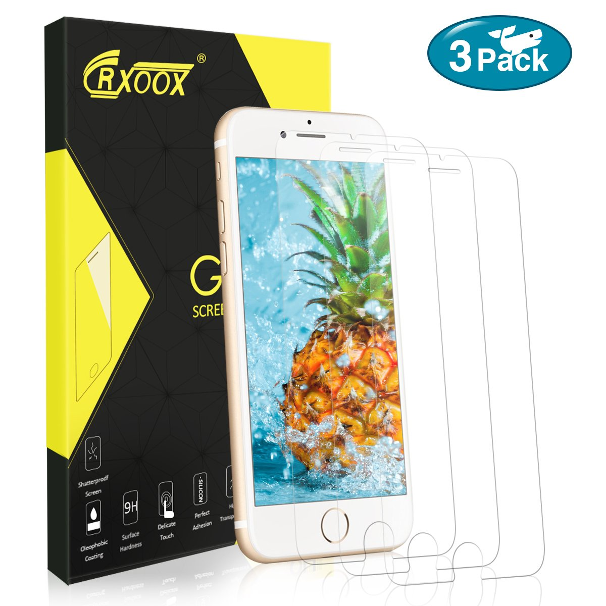 CRXOOX 3 Piezas Protector Pantalla para iPhone 7//8 F/ácil Instalaci/ón 9H Dureza Alta Definicion Cristal Vidrio Templado para iPhone 7//8 Anti-Ara/ñazos Transparente
