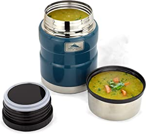 High Sierra Thermos for Hot Wall Insulation, 18/8 Stainless Steel, Keeps Warm for Up To 12 Hours, Leakproof Lid Doubles Up as a Serving Bowl, 14 oz Food Jar/Blue