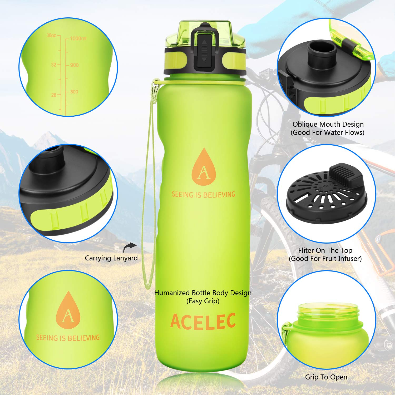 4d47eb5e8a Acelec Water Bottle Sport Water Bottle (1L/36oz) Leak Proof BPA Free  Reusable Eco-Friendly Easy Carrying Sports Drink Bottle For Camping,  Hiking, Biking, ...