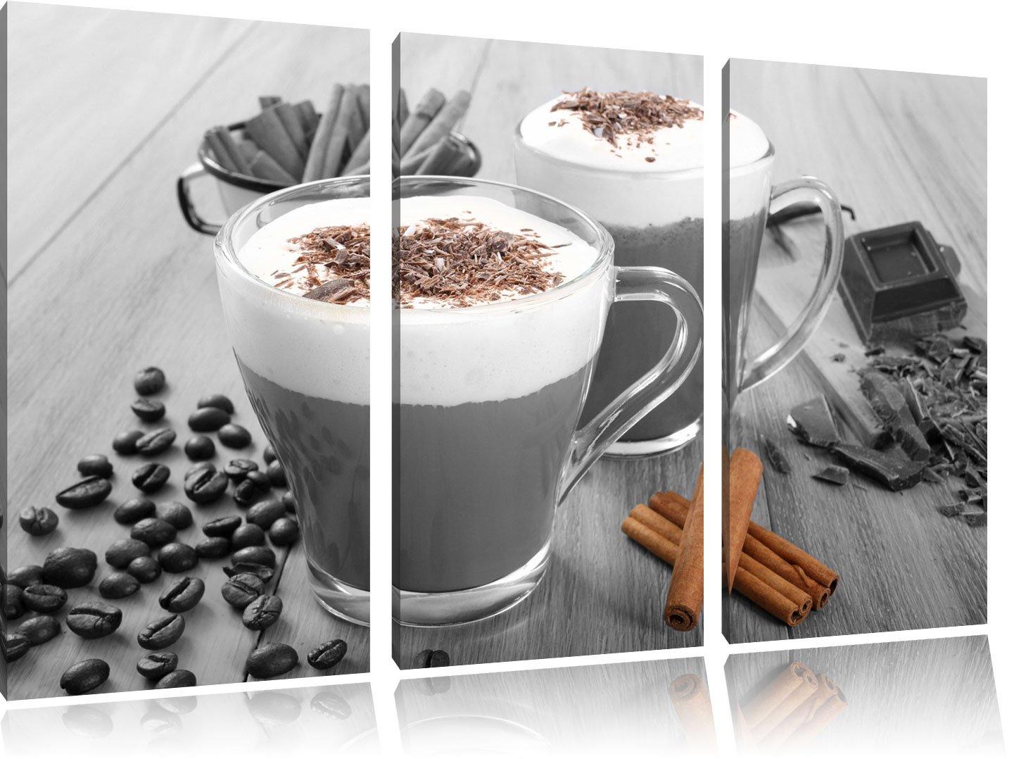 Heiße Schokolade und frischer Kaffee mit Streuseln schwarz weiß auf 3-Teiler Leinwandbild 120x80 Bild auf Leinwand, XXL riesige Bilder fertig gerahmt mit Keilrahmen, Kunstdruck auf Wandbild mit Rahmen, gänstiger als Gemälde oder &Oum