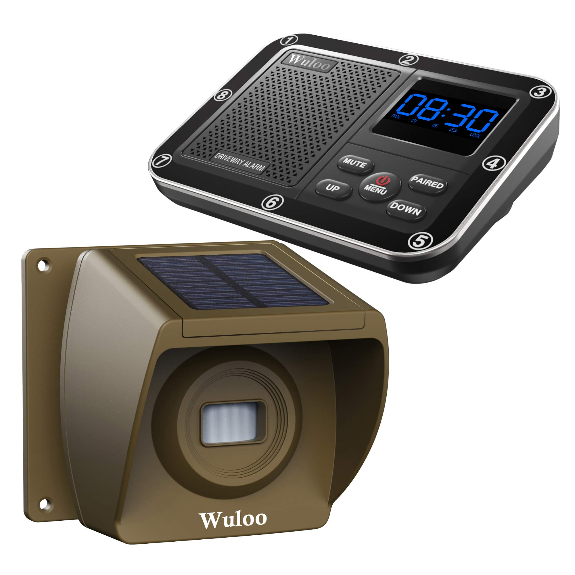 Solar Wireless Driveway Alarm 1800 Feet Long Range Motion Sensor Alert System Driveway Detector for Home with 1800mAh Rechargeable Battery (1&1-Brown) by Wuloo
