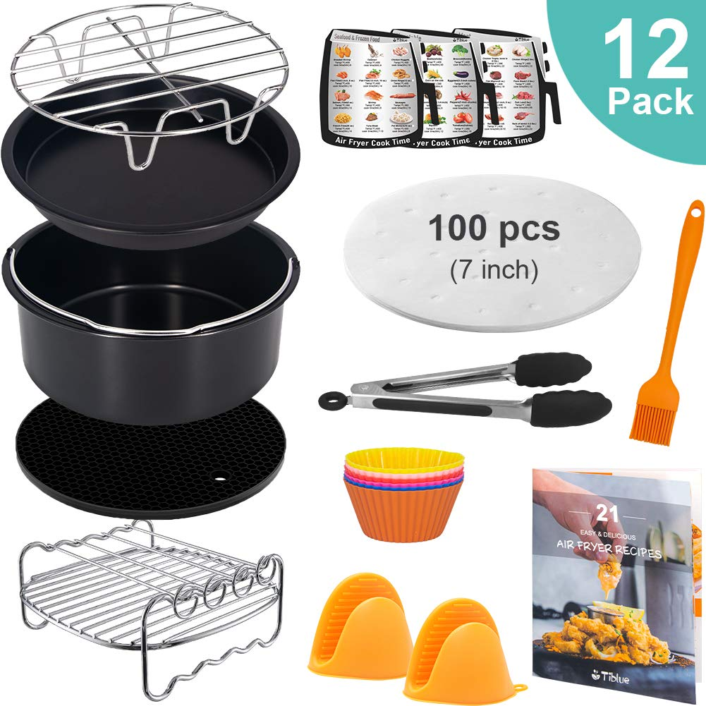 Air Fryer Accessories 12pcs for Gowise Phillips Cozyna Ninja Deep Fryer Accessories Set with Pizza Pan, Cookbook, Fryer Liners, Cake Barrel, Skewer Rack, fit all 3.7-4.0- 5.8Qt & More XL Air Fryer