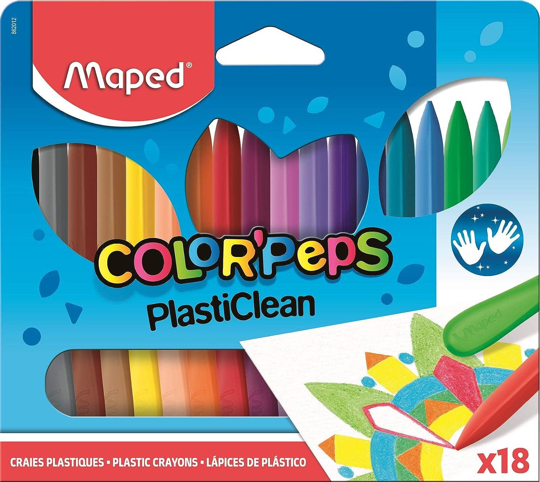 Pochette Carton Couleurs Lumineuses 12 Crayons Plastiques R/ésistants et Ergonomiques Maped Ne Salit pas les Mains Craies de Coloriage Plasti Clean