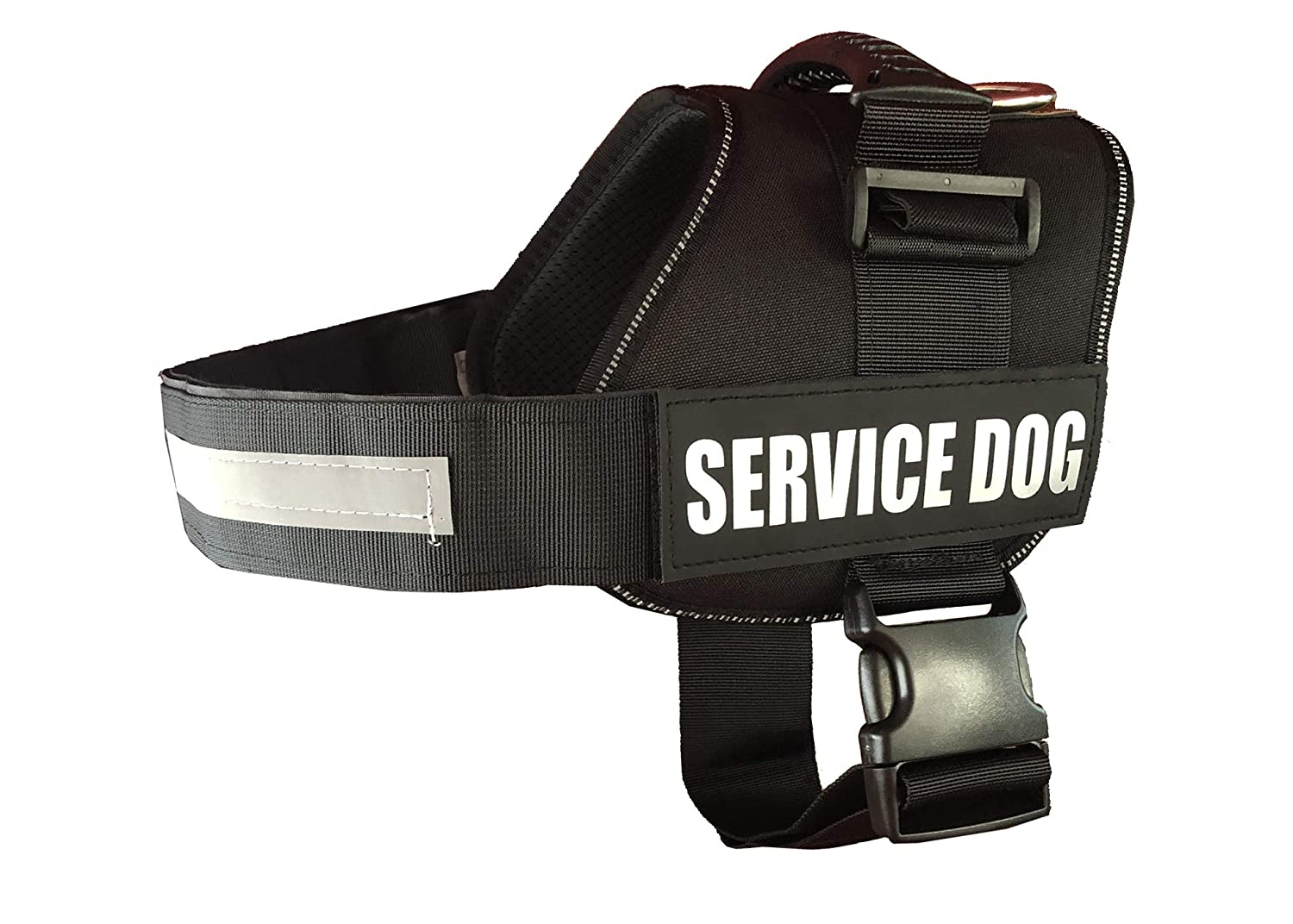 Black XL 33''- 44.5'' Girth Black XL 33''- 44.5'' Girth ALBCORP Reflective Service Dog Vest Harness, Woven Polyester & Nylon, Comfy Soft Padding, Extra Large, Black