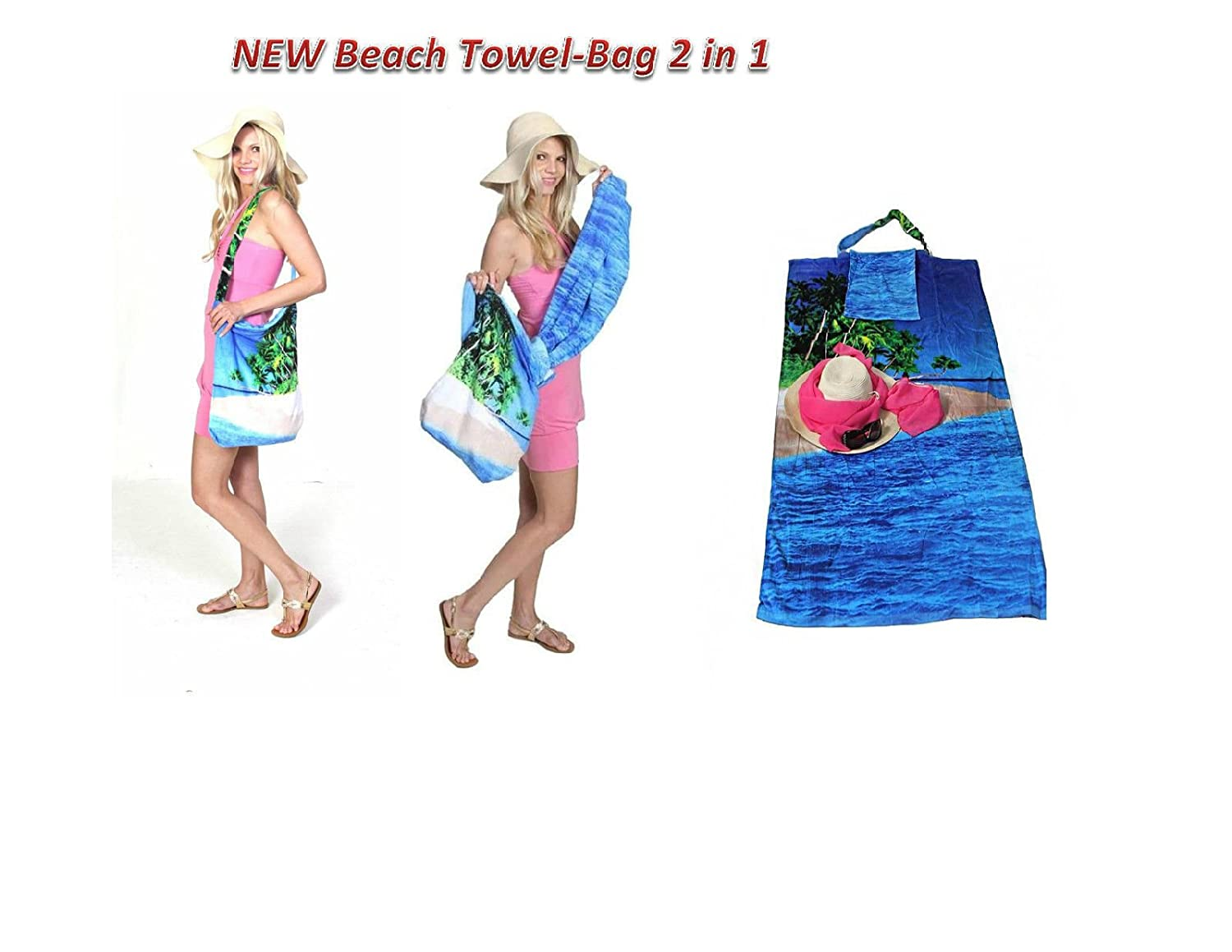 Amazon.com: 2 in 1 Beach Towel Bag,Beach Blanket, Tote Bag, Yoga ...