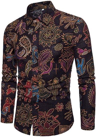 Camisas Casual Hombre Manga Larga, Covermason Camisa Estampada de Manga Larga Casual para Hombre de Personality: Amazon.es: Ropa y accesorios
