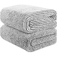 Toallas de baño de bambú, gran tamaño de 140 cm x 74 cm, toalla de microfibra para el cuerpo, juegos de toallas para limpieza de baño, superabsorbentes y de secado rápido para gimnasio, hogar, hotel, oficina, viaje, 2 unidades