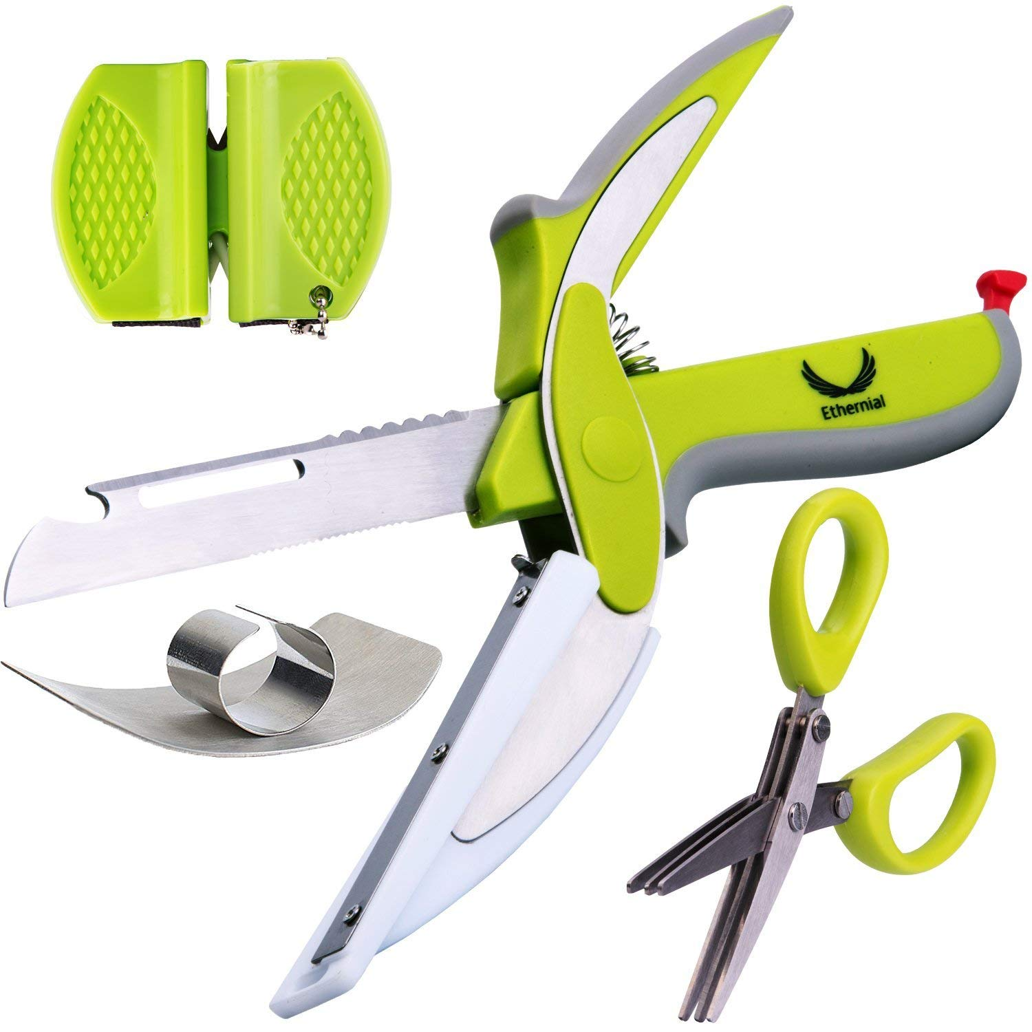 Ethernial 6-in-1 Food Chopper Knife - Salad Scissors Set - Smart Kitchen Shears with Built-in Cutting Board - Use for Quick Cutting - Including Herb Scissors, Finger Guard, Sharpener