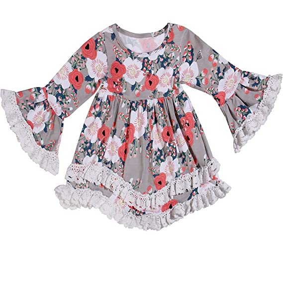 ANATA Girls Dresses Toddlers Ruffle Boho Dress Lace Cotton Baby Gown Flare Sleeve Dress Boutique Pink Flower