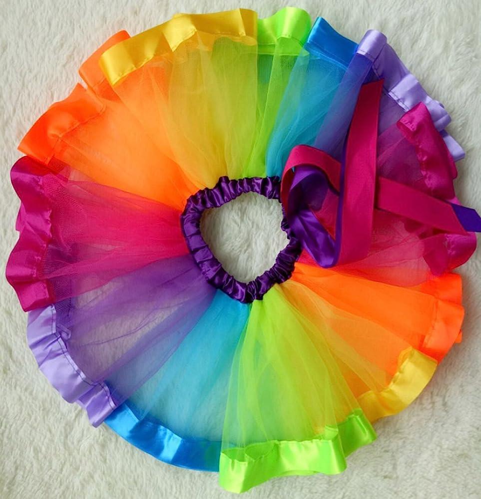 LYLKD Little Girls Layered Rainbow Tutu Skirts with Unicorn Horn Headband (Rainbow, M,2-4 Years)