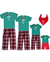 Matching Christmas Pajamas for Family of Adults, Kids Playwear - Santa's Elf #1, #2, #3, etc