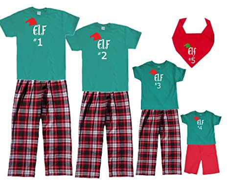amazoncom matching christmas pajamas for family of adults kids playwear santas elf 1 2 3 etc clothing
