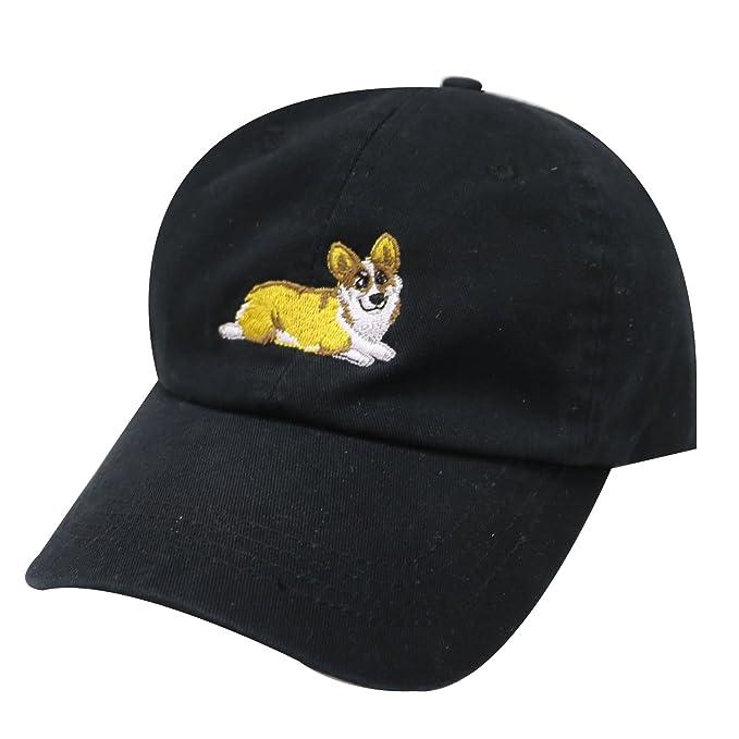 96839c31f7e City Hunter C104 Welsi Corgi Dog Cotton Baseball Dad Caps 16 Colors (Black)