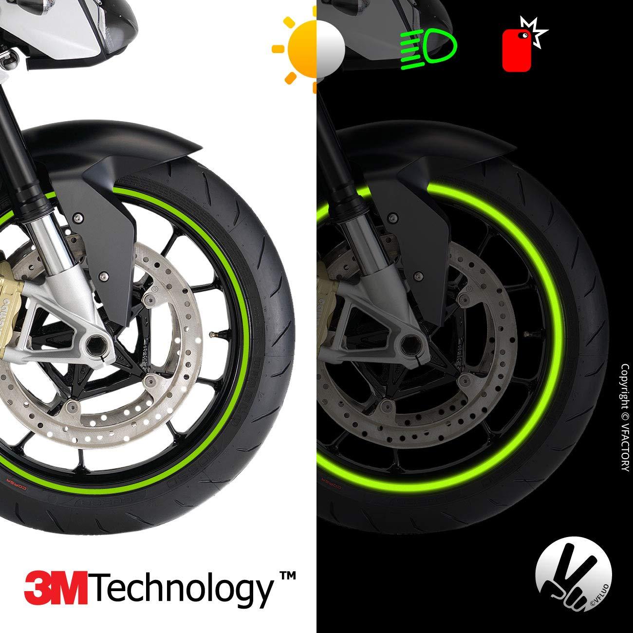 VFLUO CircularTM, Kit de Cintas, Rayas Retro Reflectantes para Llantas de Moto (1 Rueda), 3M TechnologyTM, Anchura XL : 7 mm, Kawazaki Verde: Amazon.es: ...