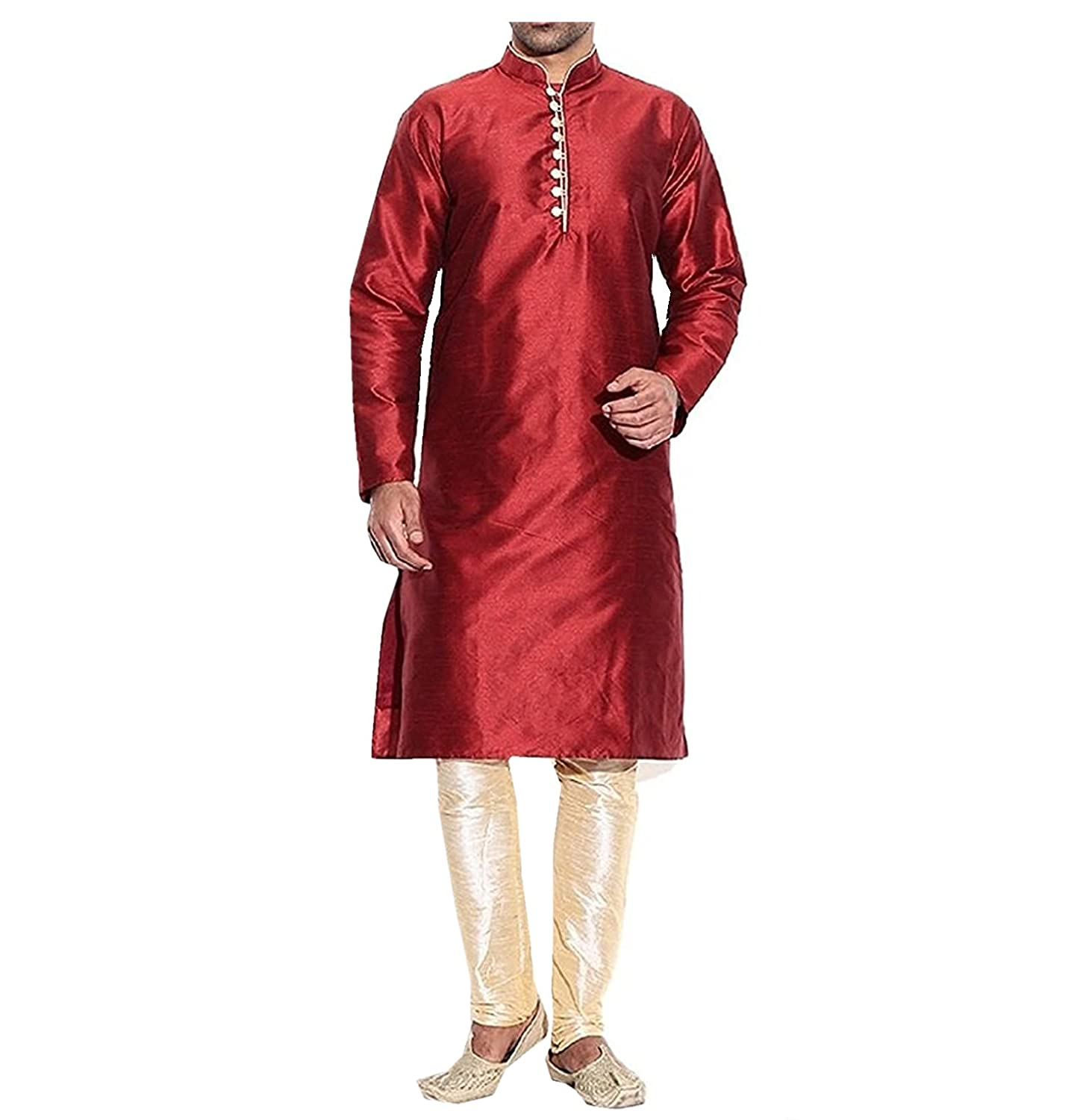 Royal Men's Silk Blend Kurta Pyjama Set (ROYAL_179_Maroon _Large) ROYAL_179-Large