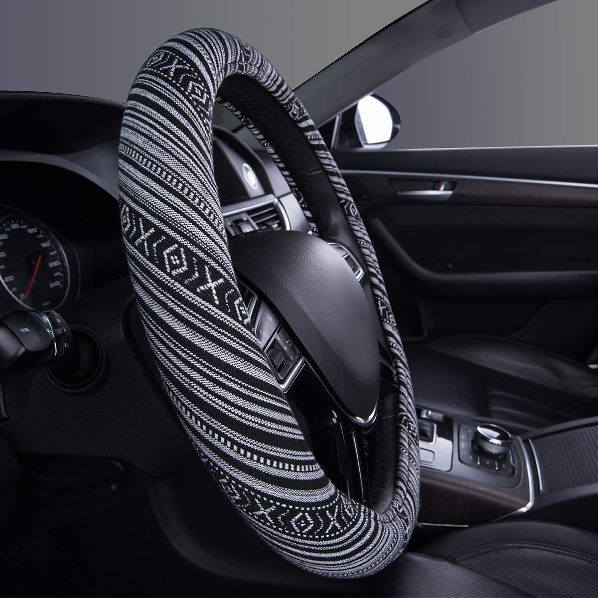 CAR PASS Flax Cloth Pretty Ethnic Style Universal Fit Steering Wheel Cover Colorful Fit for Suvs,Sedans,Cars,Trucks