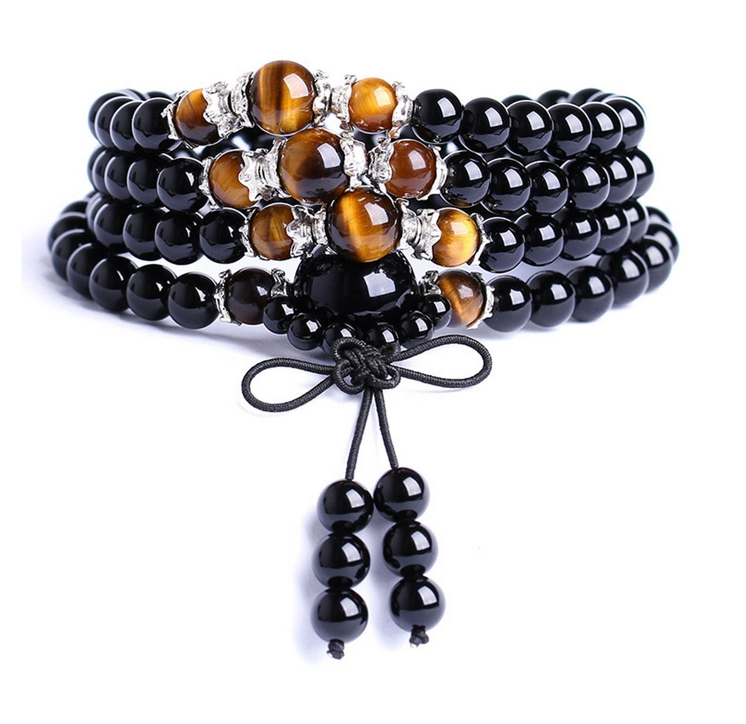 Onlineb2c Obsidian Multilayer Tiger Eye Tibetan Buddhist Buddha Prayer Beads Mala Bracelet Necklace