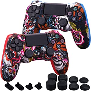MXRC Silicone Rubber Cover Skin case Anti-Slip Water Transfer Customize Camouflage for PS4/SLIM/PRO Controller x 2 (Dragon Red + Blue) + FPS PRO Extra Height Thumb Grips x 8 + Dustproof Plug x 4