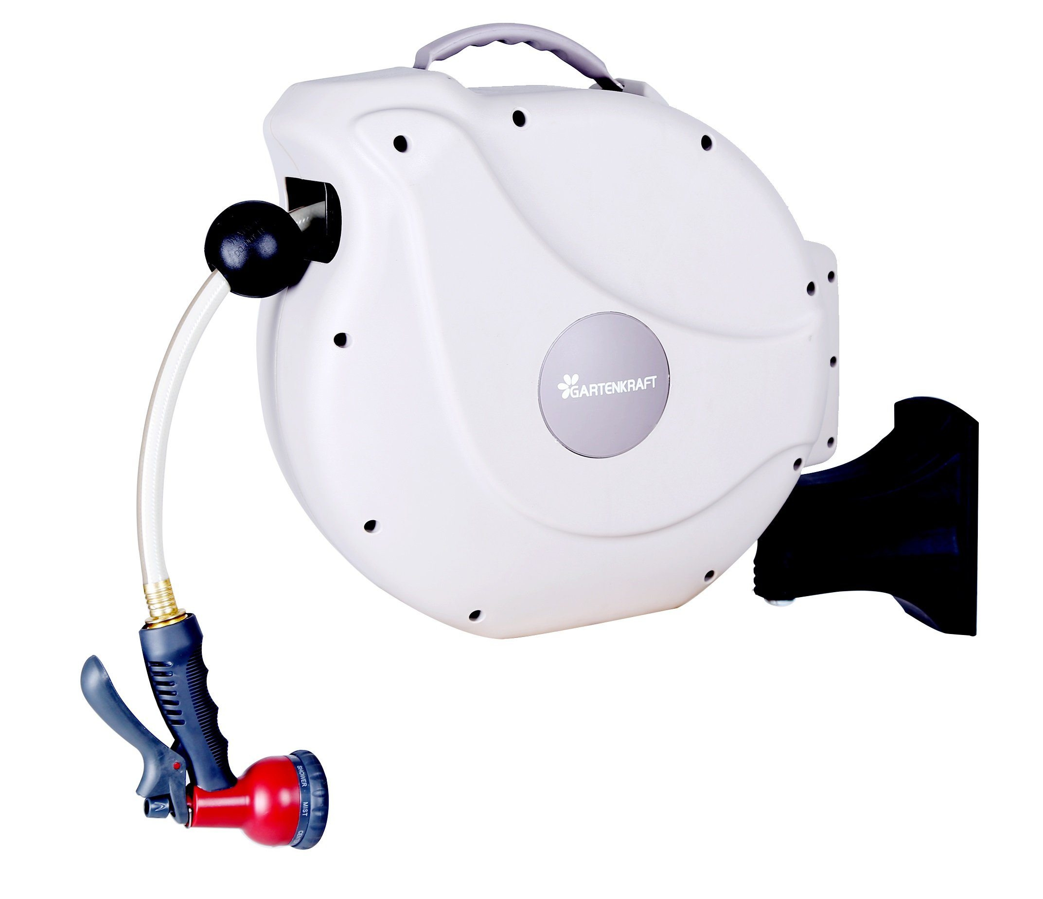 GartenKraft Retractable Garden Hose Reel, 1/2'' 100' White, 1/2'', 100'