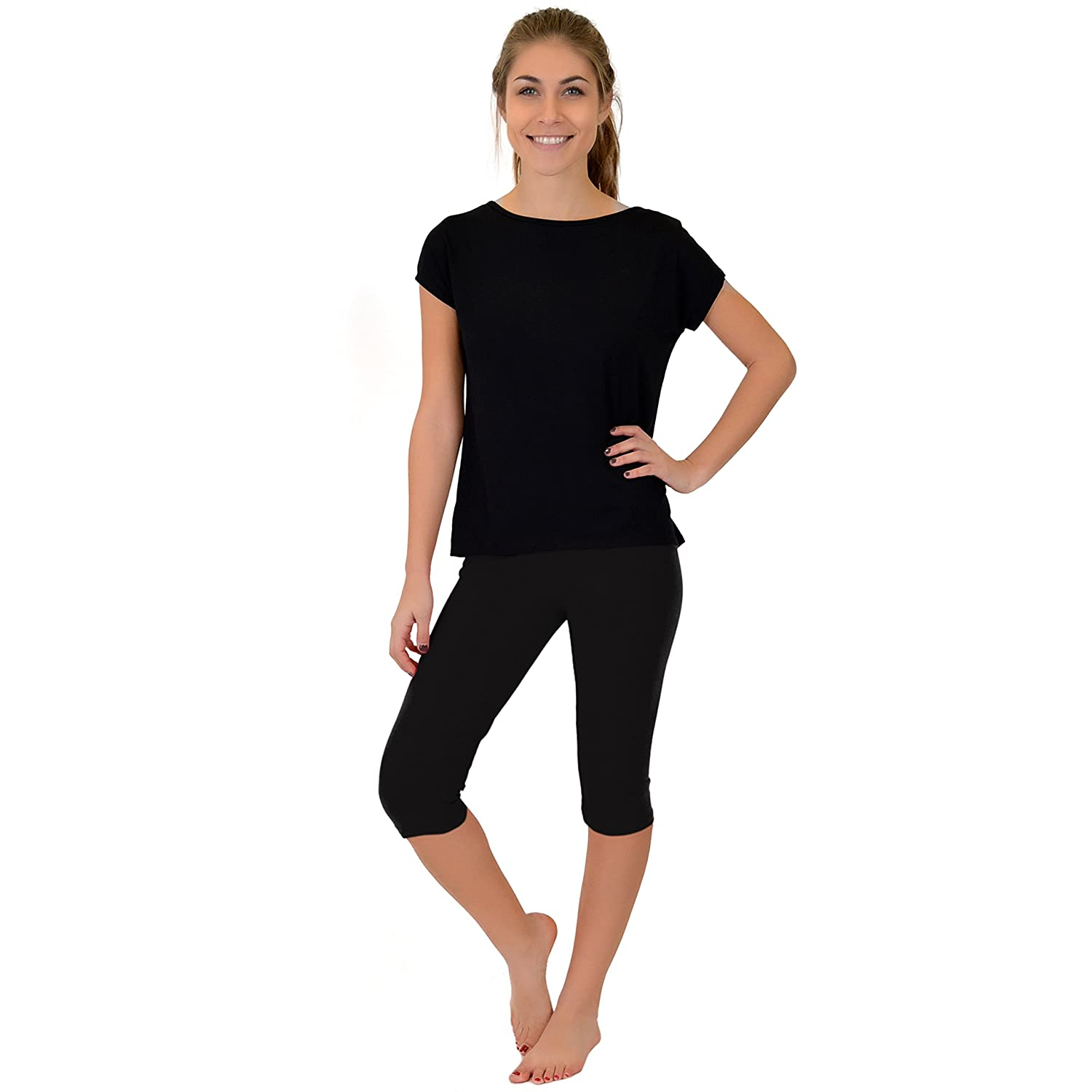1a8a2ac861ff8 Stretch is Comfort Women s Circuit Knee-Length Leggings at Amazon Women s  Clothing store