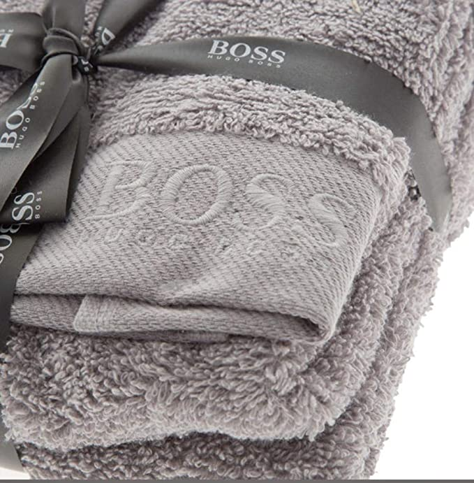 BOSS Hugo - Toalla de algodón Peinado (2 Unidades, 60 x 40 cm), Color Gris: Amazon.es: Hogar