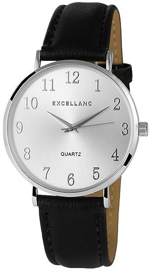 Reloj mujer plata negro analógico de cuarzo metal cuero reloj de pulsera