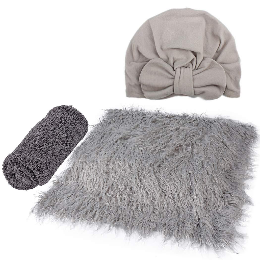 3PCS Baby Photo Prop Set Fashion Baby Swaddle Wrap Baby Hat Baby Photo Blanket Grey by Kapmore