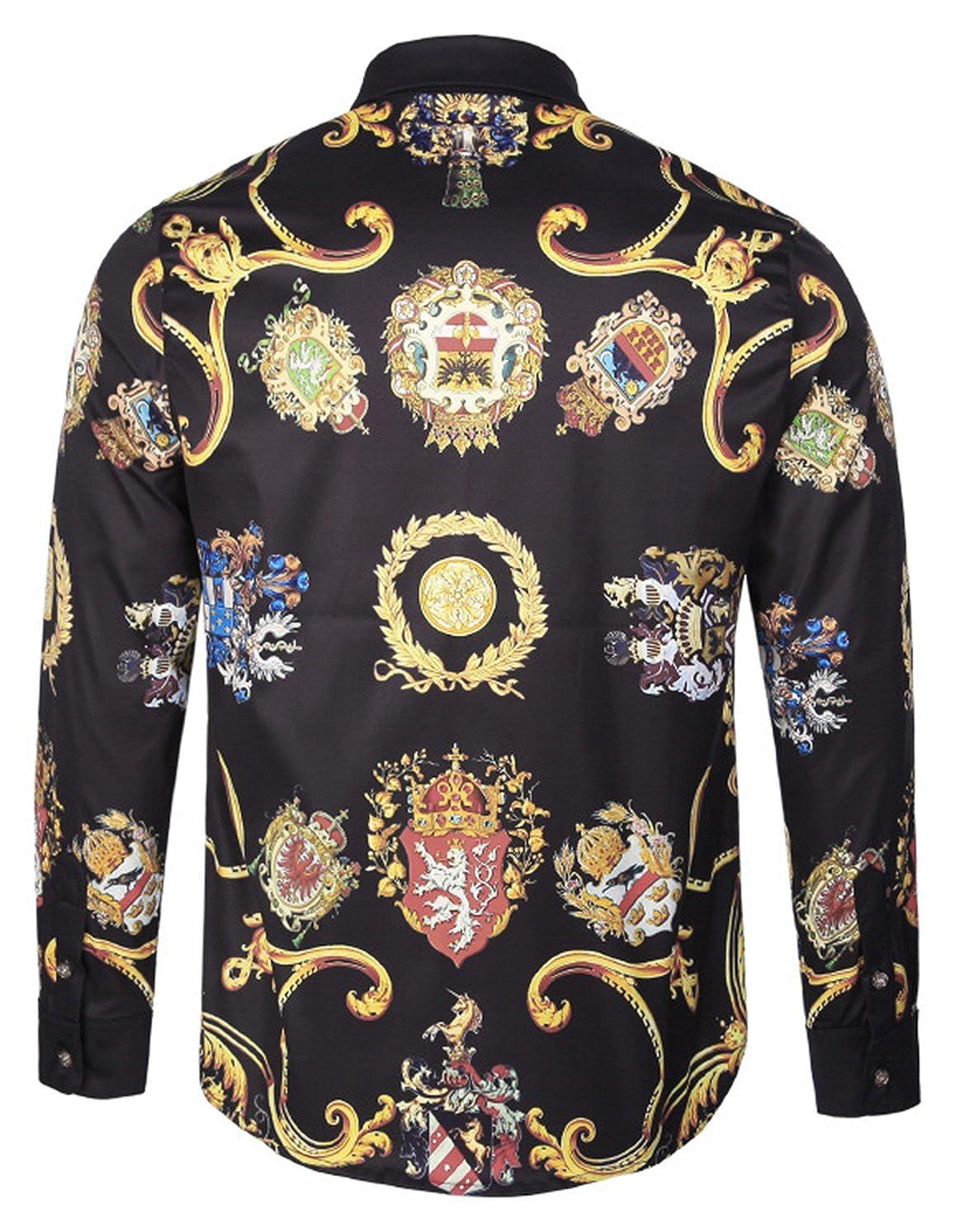 Homme Pizoff Chemise Homme /à Belle Impression Luxury Design Dress Shirt Chemise de Soir/ée Style /Él/égant Y1792 Collection2