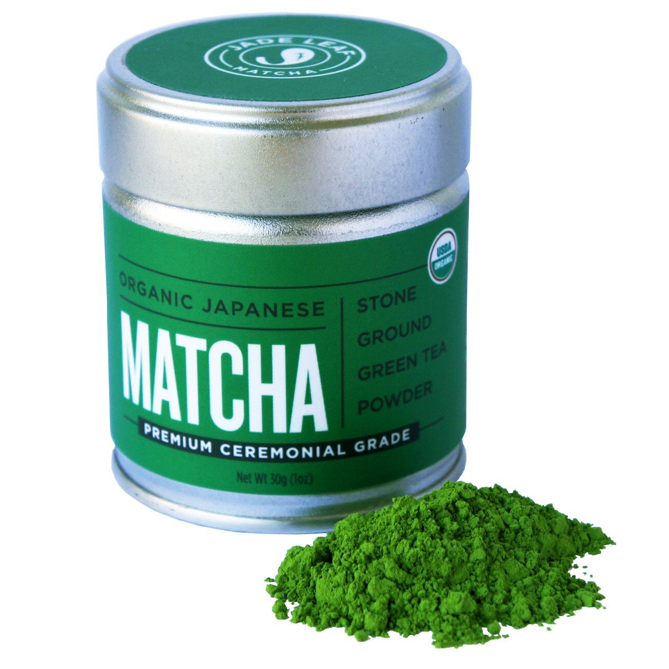 Jade Leaf Matcha Green Tea Powder - USDA Organic - Premium Ceremonial Grade (For Sipping as Tea) - Authentic Japanese Origin - Antioxidants, Energy [30g Tin] by Jade Leaf Matcha (Image #1)